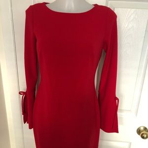 Calvin Klein Size 4 Red dress with tie sleeves